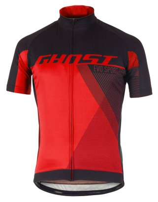 GHOST Performance Evo Jersey Short - Night Black / Riot Red